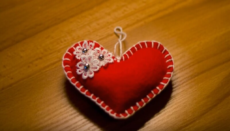 Валентинка из фетра